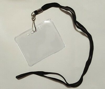 Clear Horizontal Id Badge Pass Holder Black Lanyard - 3 58 X 2 12 24 Pack