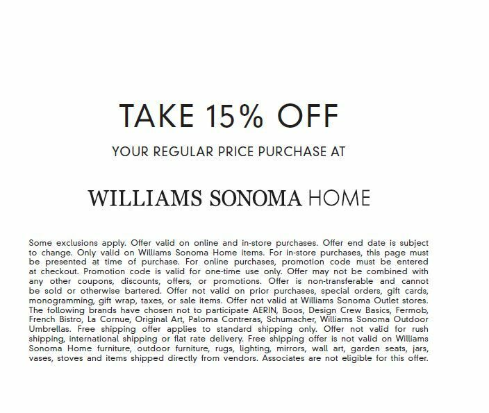 WILLIAMS SONOMA HOME 15 OFF COUPON FULL PRICE ITEMS EXP.1/14/21 FAST E-DELIVERY - $14.95