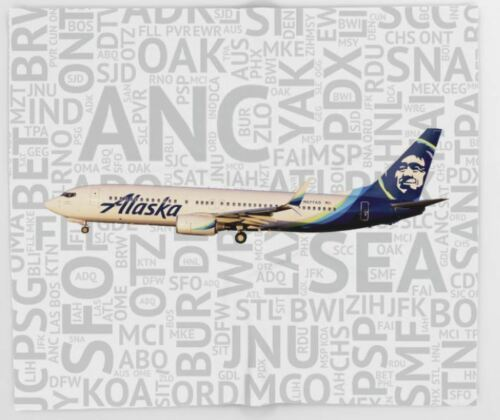 """Alaska Airlines Boeing 737 with Airport Codes- Throw Blanket (51"""" x 60"""")"""