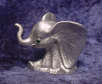 Pewter CIRCUS ELEPHANT with Green Crystal Eyes