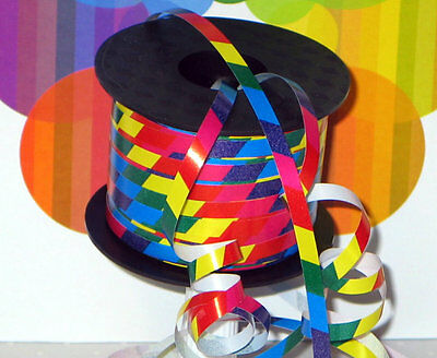Fun Multi-color Bright Rainbow Print Curling Ribbon 20yds 1/4