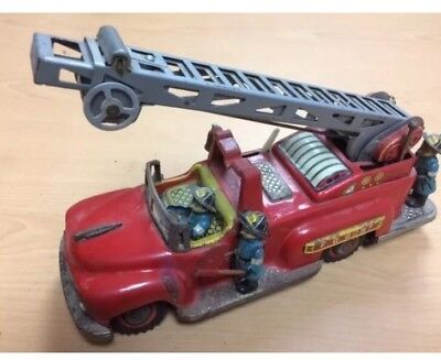 1950 Japan Nomura Tin Toy Fire Truck  Acceptable Condition     Parts  Repair