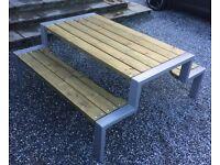 Bespoke Handmade Outdoor Steel/Wood Table 6+ Seater Dark Grey