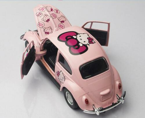 1pcs Cute Pink Hello Kitty Beatles Mini Car Model Ornament Decoration Girl Gift