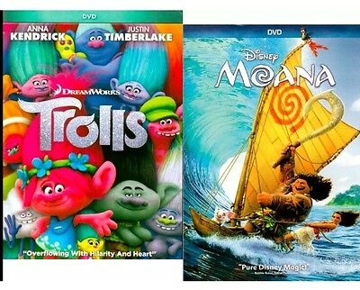 2Dvd Set  Trolls 2016 Pg   Moana 2016 Pg Movies  Animated Now Shipping