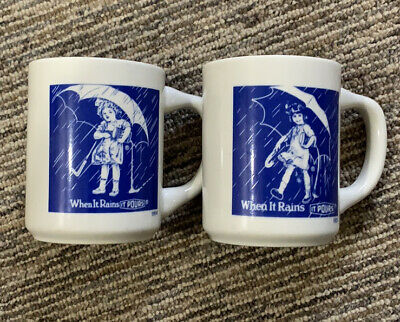 Vintage MORTON SALT UMBRELLA GIRL Coffee Mugs Set of 2
