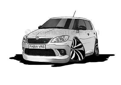 Skoda Fabia VRS SilverCaricature Car Cartoon A4 Print - Personalised Gift