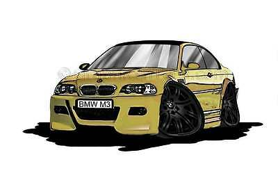 BMW M3 - E46 Phoenix Yellow with Black Alloys Caricature Car Cartoon A4 Print