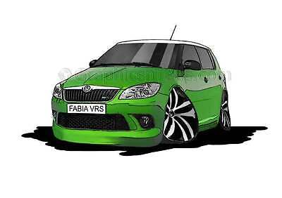Skoda Fabia VRS Green Caricature Car Cartoon A4 Print - Personalised Gift