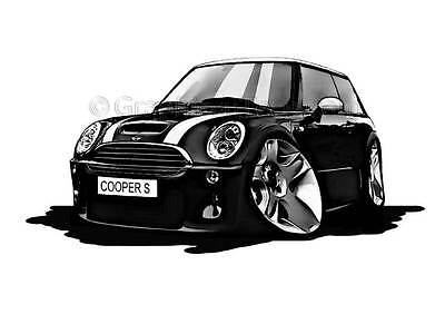 Mini Cooper S Black Caricature Car Cartoon A4 Print