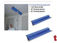"REFINA SPATULA 3 PC SPEED SKIMMING SPATULA KIT 24"" + 32"" 1-2M EXTENDABLE ALLOY HANDLE 228108 228107"
