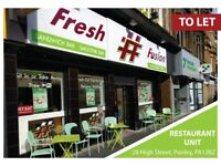 To Let For Rent Restaurant Hot food Cafe take away coffee shop unit Shop bar on Busy High street