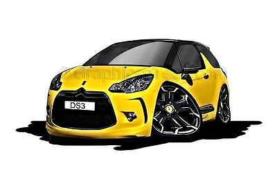 Citroen DS3 Yellow Caricature Car Cartoon A4 Print