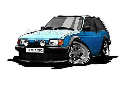 XR2 MK2 Ford Fiesta Blue Caricature Car Cartoon A4 Print