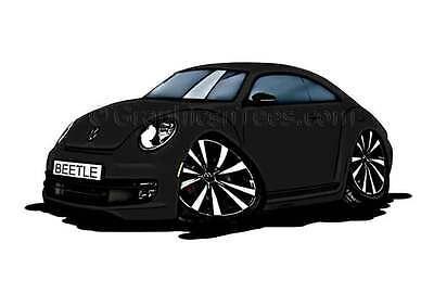 Black VW Volkswagen Beetle Caricature Car Cartoon A4 Print Personalised Gift