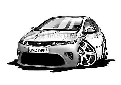 Honda Civic Type R FN2 Silver Caricature Car Cartoon A4 Print