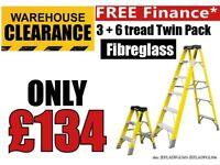 Jefferson 3 & 6 Tread Fibreglass Step Ladder Twin Pack