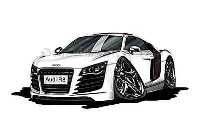 Audi R8 Caricature Car Art Cartoon A4 Print White - Ideal Personalised Gift