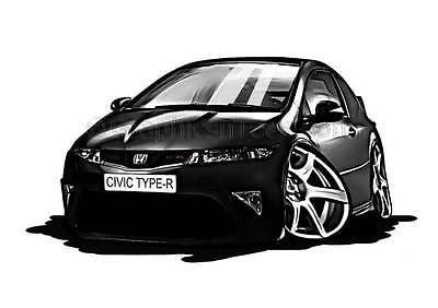 Honda Civic Type R FN2 Black Caricature Car Cartoon A4 Print