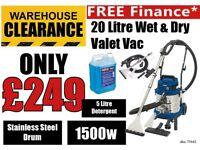Draper 75442 20L 1500w Wet Dry Shampoo Carpet/Valet Machine FREE SHAMPOO 5ltr Detergent