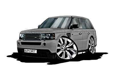 Range Rover Sport Grey Caricature Car Cartoon A4 Print - Personalised Gift