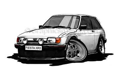 XR2 MK2 Ford Fiesta White Caricature Car Cartoon A4 Print