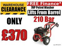 Proplus 7hp petrol pressure washer & pump 210 bar power wash 3000psi lifts from barrel power hose