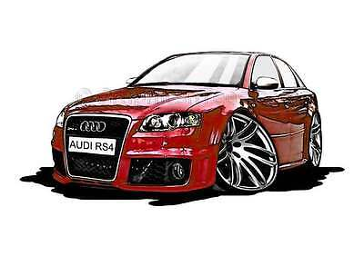 Audi RS4 Red Caricature Car Cartoon A4 Print