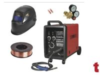 SEALEY SUPERMIG180 MIG WELDER 180A 230V + 5KG WIRE + AUTO-DARKENING HELMET