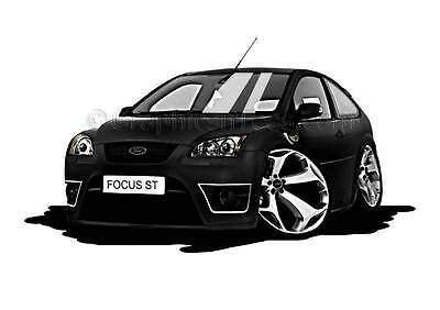 MK2 Ford Focus ST Black Caricature Car Cartoon A4 Print