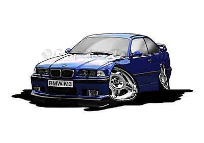 BMW M3 - E36 Blue Caricature Car Cartoon A4 Print