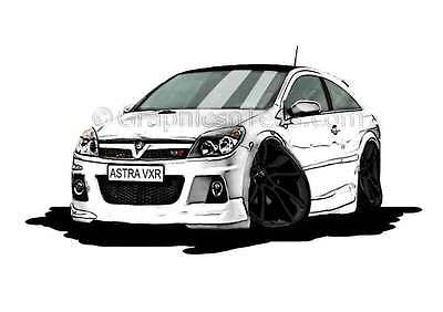 MK5 Astra H VXR White with Black Alloys Caricature Car Cartoon A4 Print