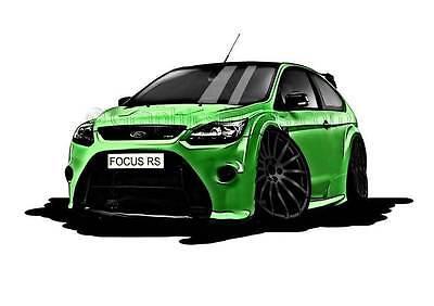 MK2 RS Focus Green, Black Alloys Caricature Car Cartoon A4 Print