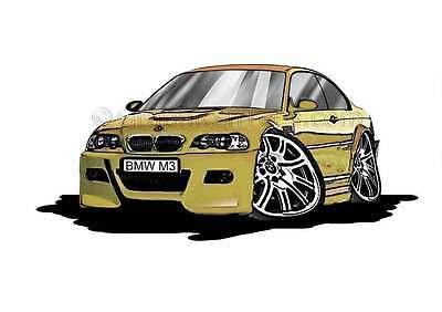 BMW M3 - E46 Phoenix Yellow Caricature Car Cartoon A4 Print - Personalised Gift