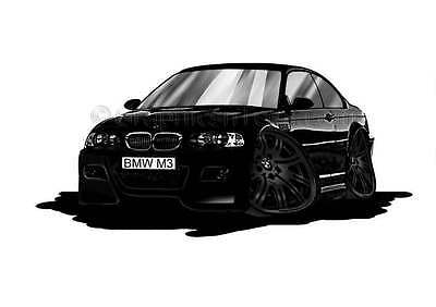 BMW M3 - E46 Black Caricature Car Cartoon A4 Print Black Alloys