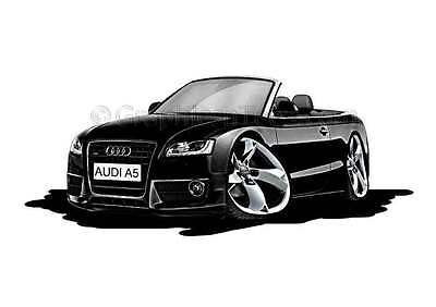 Audi A5 Cabriolet Black Caricature Car Cartoon A4 Print