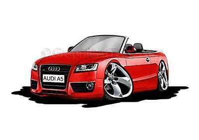 Audi A5 Cabriolet Red Caricature Car Cartoon A4 Print
