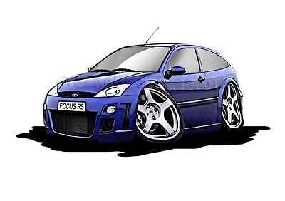RS Focus MK1 Blue Caricature Car Cartoon A4 Print