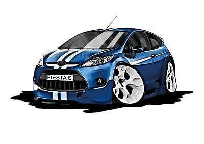 MK7 Fiesta S Blue with White Stripes Caricature Car Cartoon A4 Print