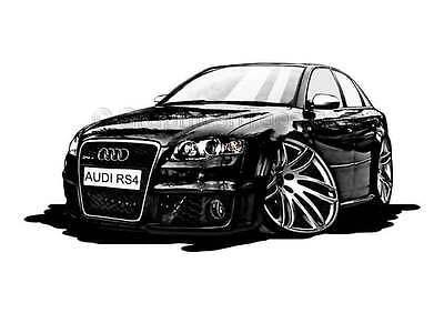 Audi RS4 Black Caricature Car Cartoon A4 Print