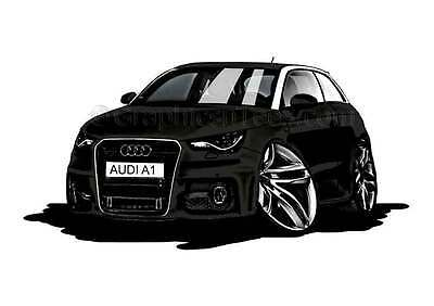 Audi A1 Black Caricature Car Cartoon A4 Print