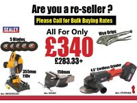 Cut off Saw, Grinders, vice and grips bulk buying wholesale rates available resale