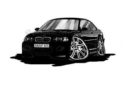 BMW M3 - E46 Black Caricature Car Cartoon A4 Print