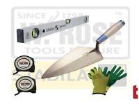 Brickies Brick Laying Kit w/ Level, W Rose Brick Trowel, 2x Tapes + Pair of Gloves