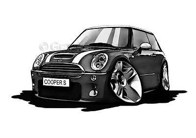 Mini Cooper S Grey Caricature Car Cartoon A4 Print