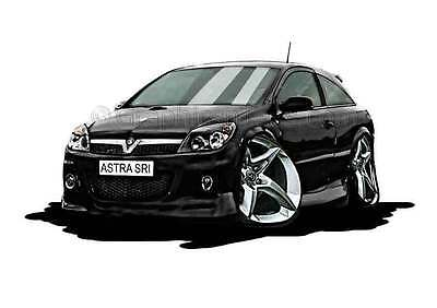 MK5 Astra H SRI Black Caricature Car Cartoon A4 Print
