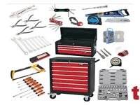 DRAPER 3 DRAWER TOOL CHEST TOP BOX + 5 DRAWER ROLLER CABINET + 33 PIECE TOOL KIT