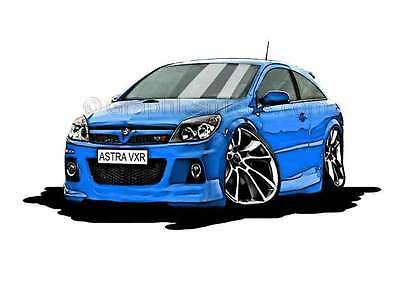 MK5 Astra H VXR Blue Caricature Car Cartoon A4 Print
