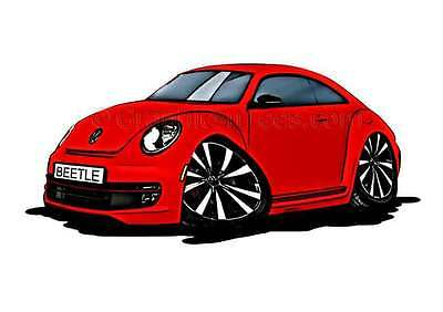 VW Beetle Caricature Car Cartoon A4 Print - In Red
