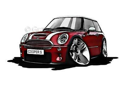Mini Cooper S Red Caricature Car Cartoon A4 Print